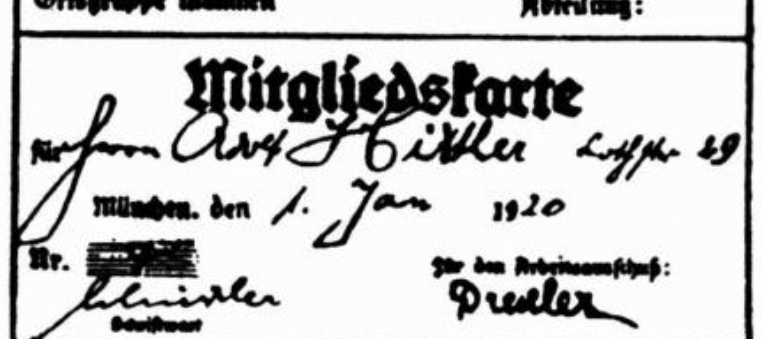 Hitlers DAP membership card