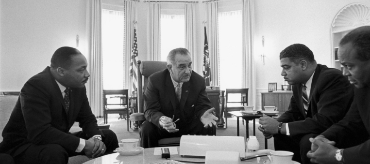 Lyndon Johnson meeting with civil rights leaders